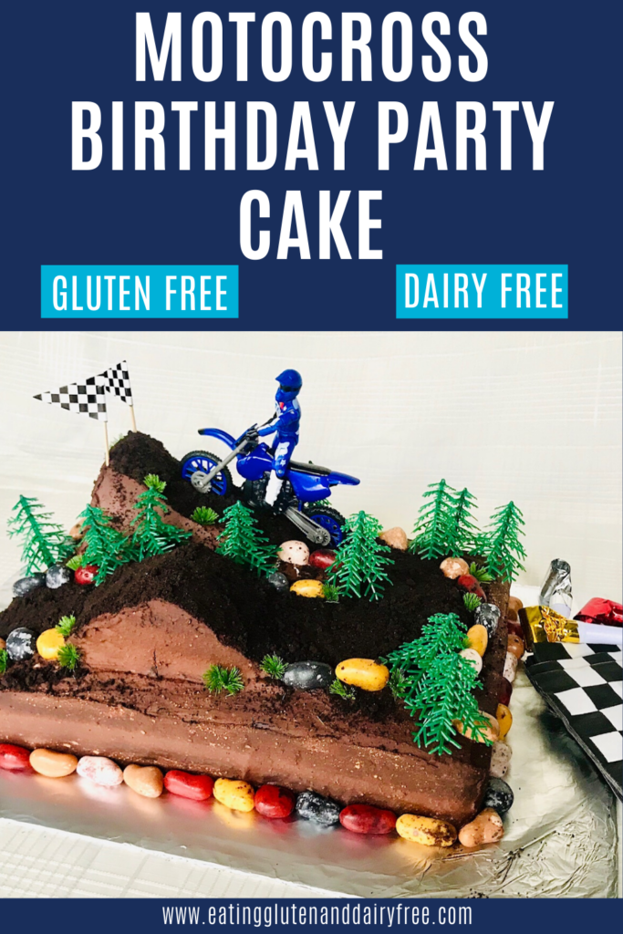a motocross cake  with hills, trees, and rocks.