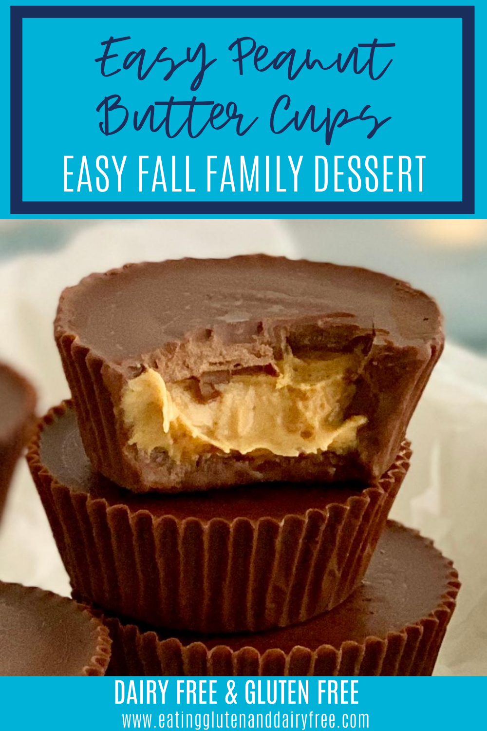 Homemade peanut butter cups stacked on top of each other with a bite taken out of the top one.