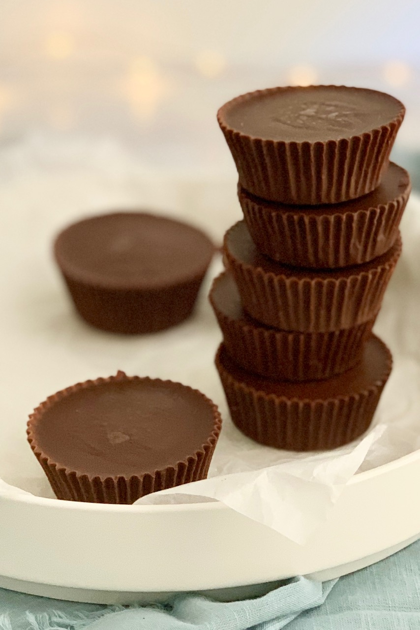 A stack of homemade peanut butter cups