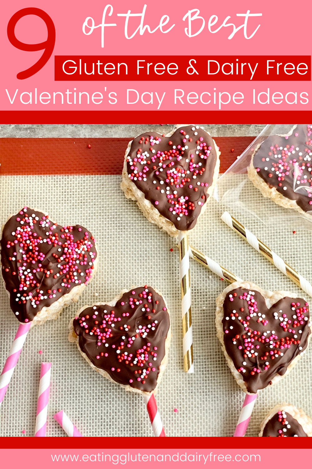 heart shaped rice krispies with melted chocolate and sprinkles on top.