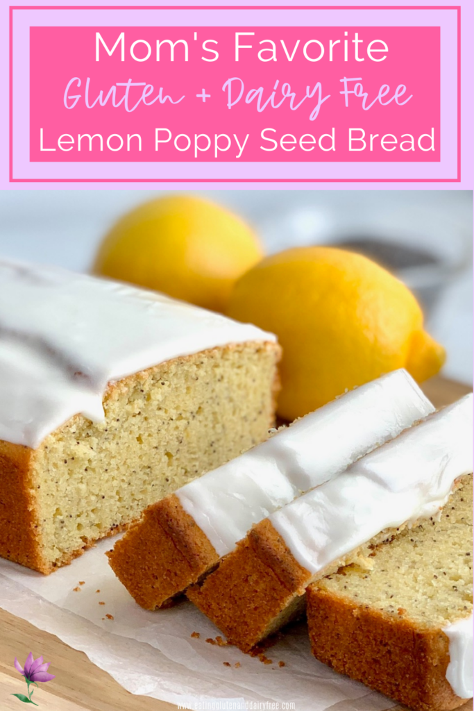 Large slices of lemon poppy seed bread with a thick icing next to 2 lemons.