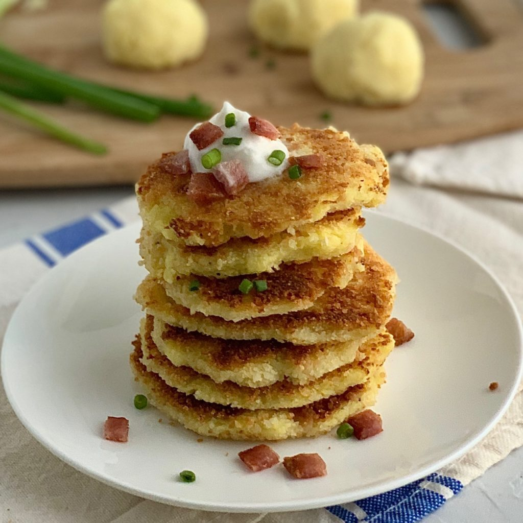 a stack of mashed potato pancakes