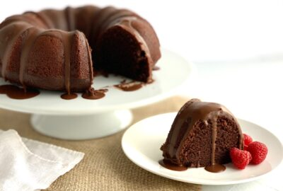 chocolate bunt cake with chocolate ganache and raspberries