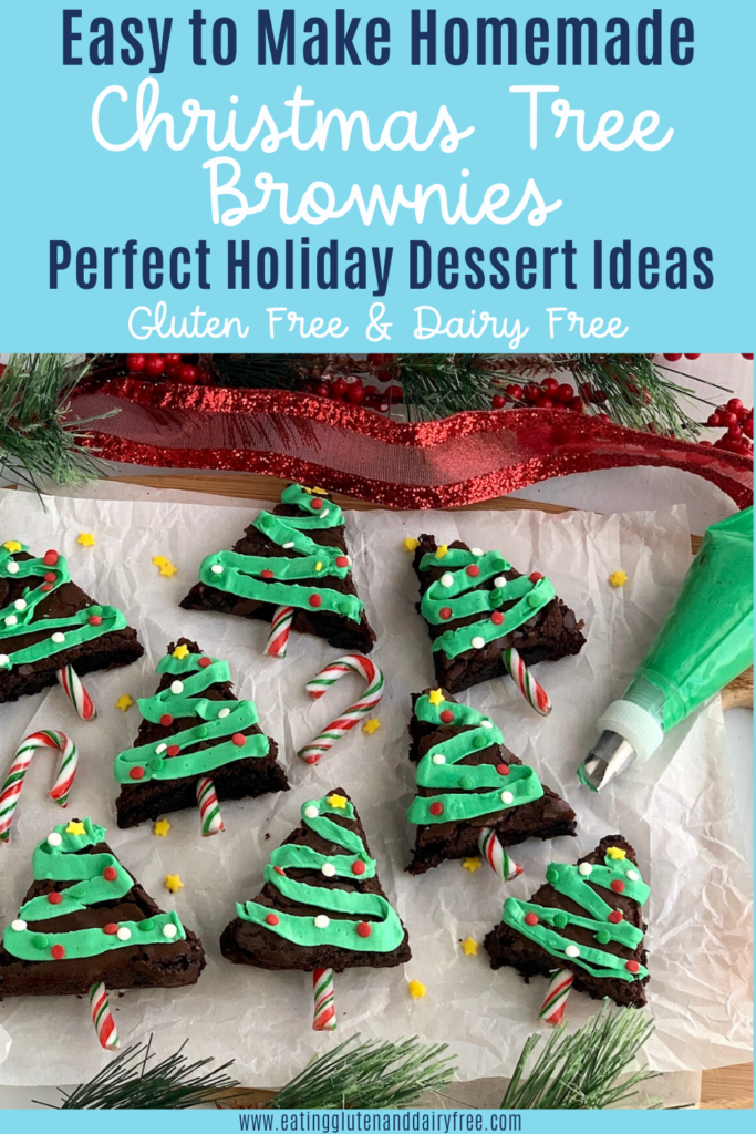 Christmas trees made from brownies with frosting tinsel and sprinkles