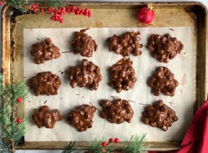 rocky road clusters on a baking sheet