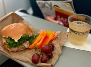 sandwich, grapes, and peppers on an airplane tray table