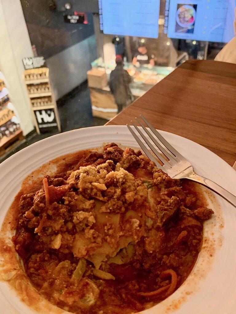 lasagna at the Hu Kitchen in New York City