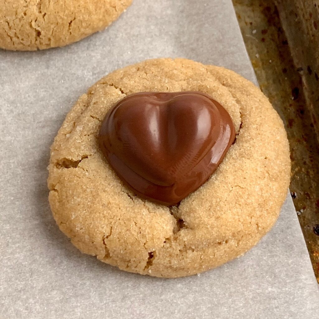 Heart peanut butter blossom cookie