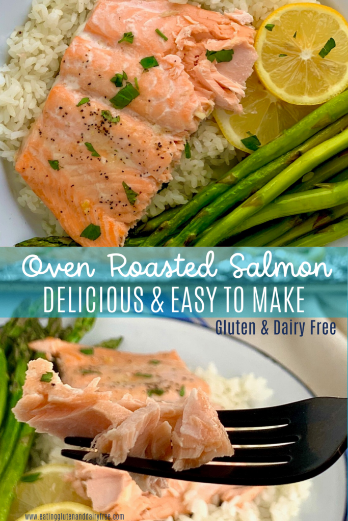 Oven roasted salmon on a bed of white rice and asparagus