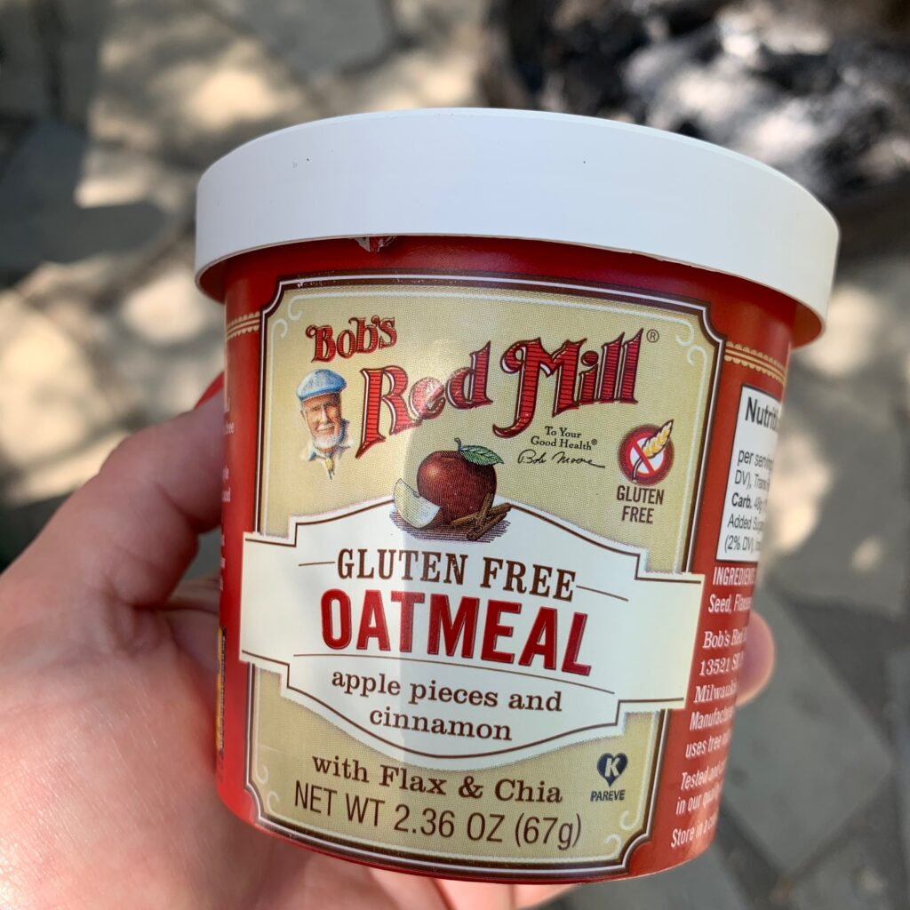 a single serve Bob's Red Mill gluten free oatmeal container