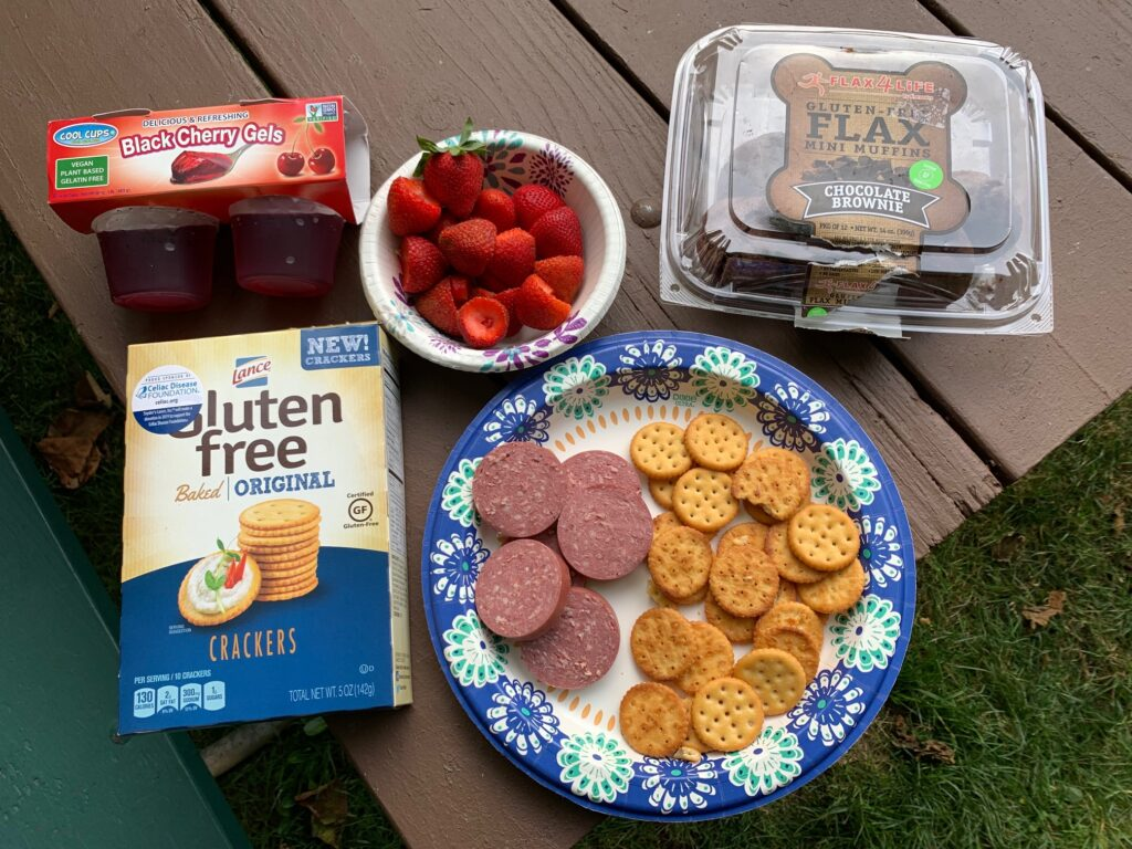 Several snacks displayed on a picnic table such as fruit, jello, crackers. and summer sausage.