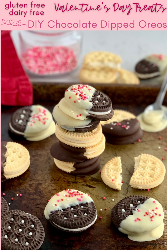 gluten and dairy free oreo sandwich cookies dipped in dairy free chocolate with sprinkles