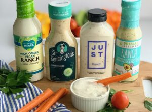 Four bottles of different dairy free ranch dressing