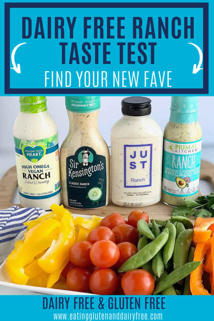4 bottles of dairy free ranch dressing for the taste test with a plate if vegetables in front.