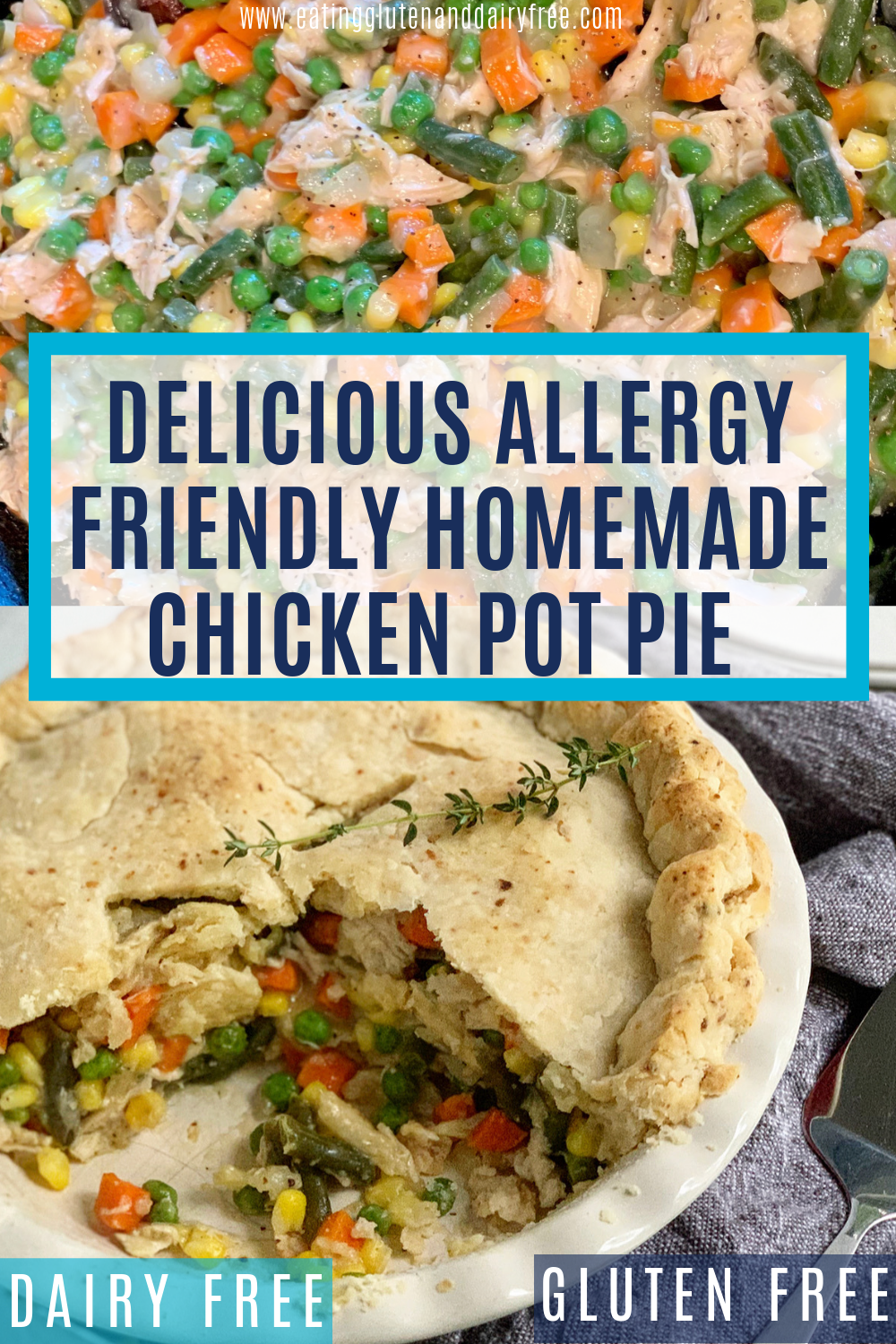 a chicken pot pie with a  large slice missing