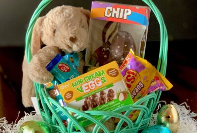 An Easter basket filled with yummy gluten and dairy free treats