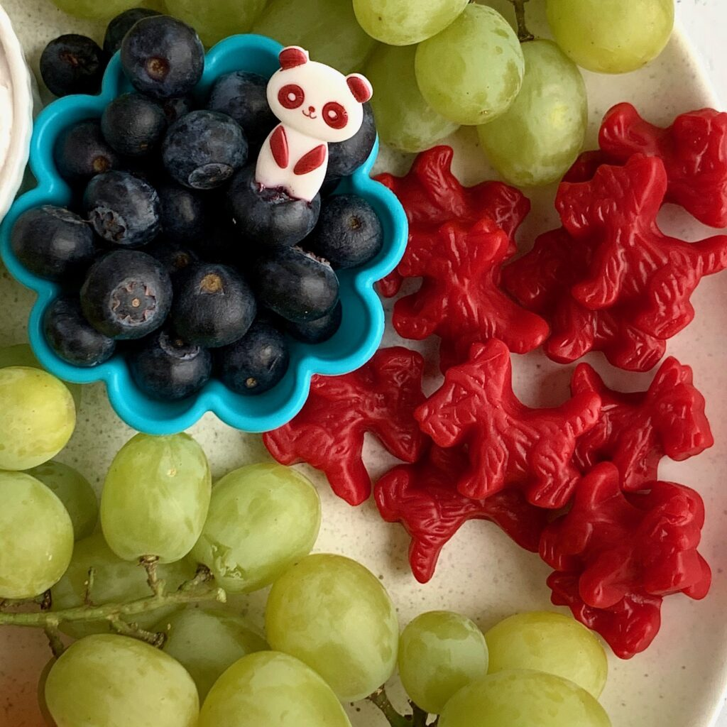 Several kid snack ideas on a plate