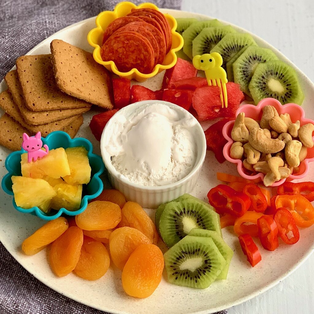 Yummy easy kid snack ideas on a plate