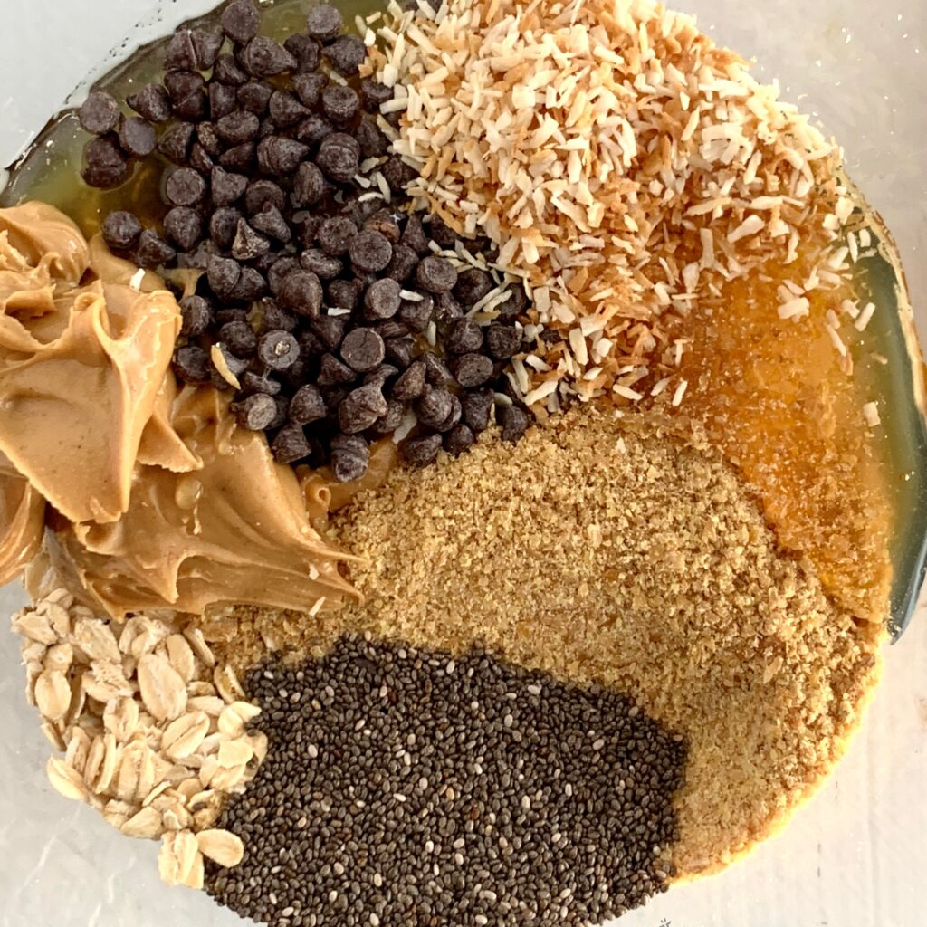 All the ingredients in a bowl for the best energy bites