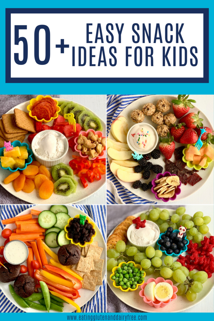 Pictures of several kid friendly snack ideas