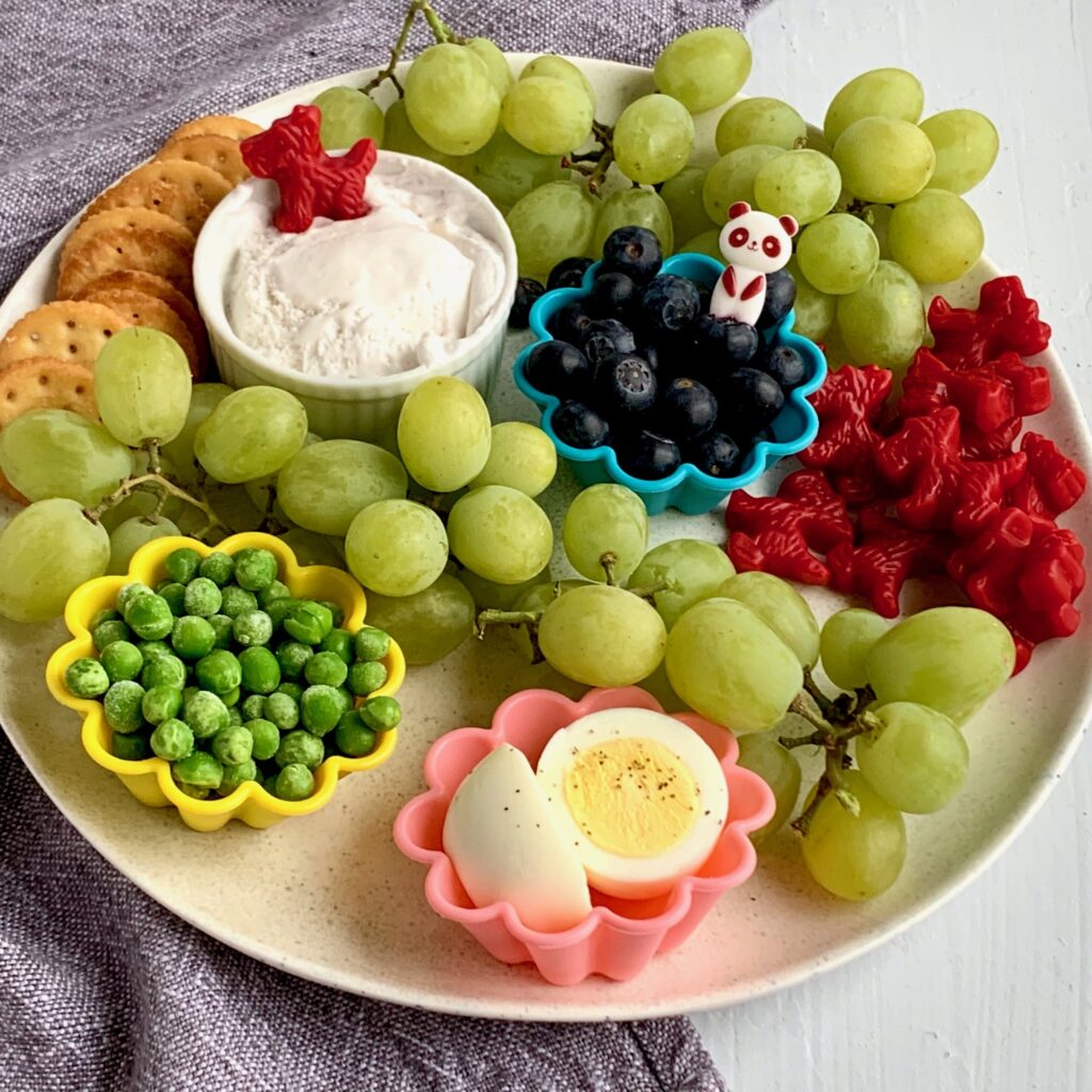 Lots of fun kid friendly snacks on a plate