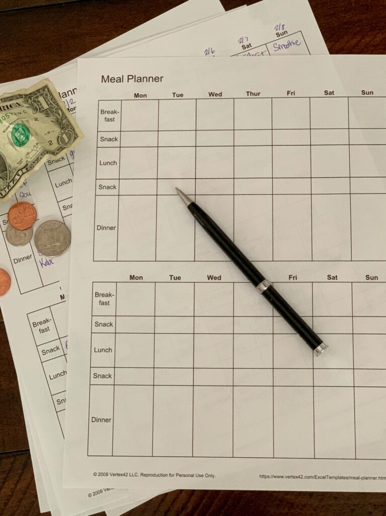 cash and menu planners