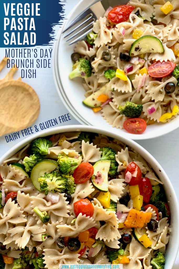 A veggie pasta salad in a bowl and on a plate.