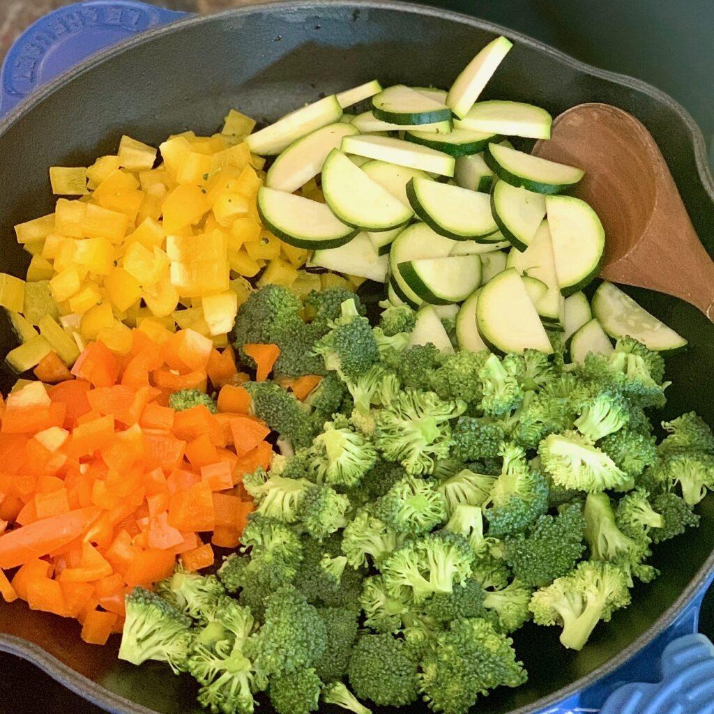 Veggies in a stove top pan.