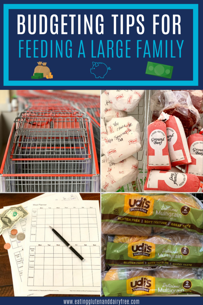 a shopping cart, menu planners, hamburger buns, and frozen meat