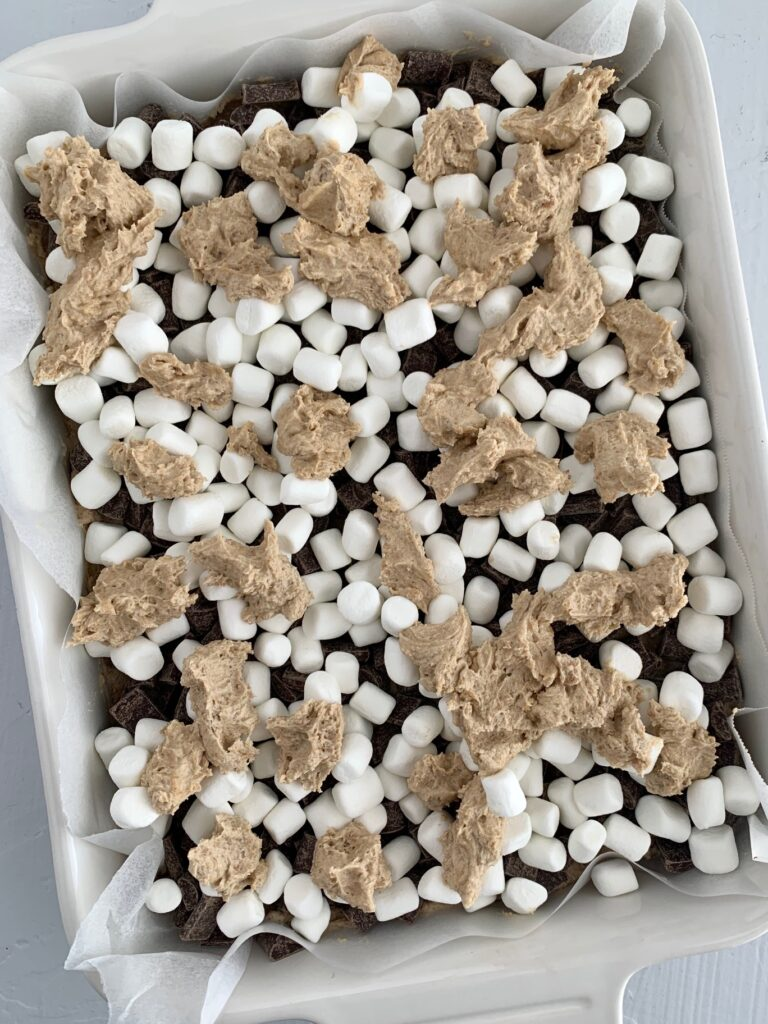 S'more cookie dough on top of marshmallows.