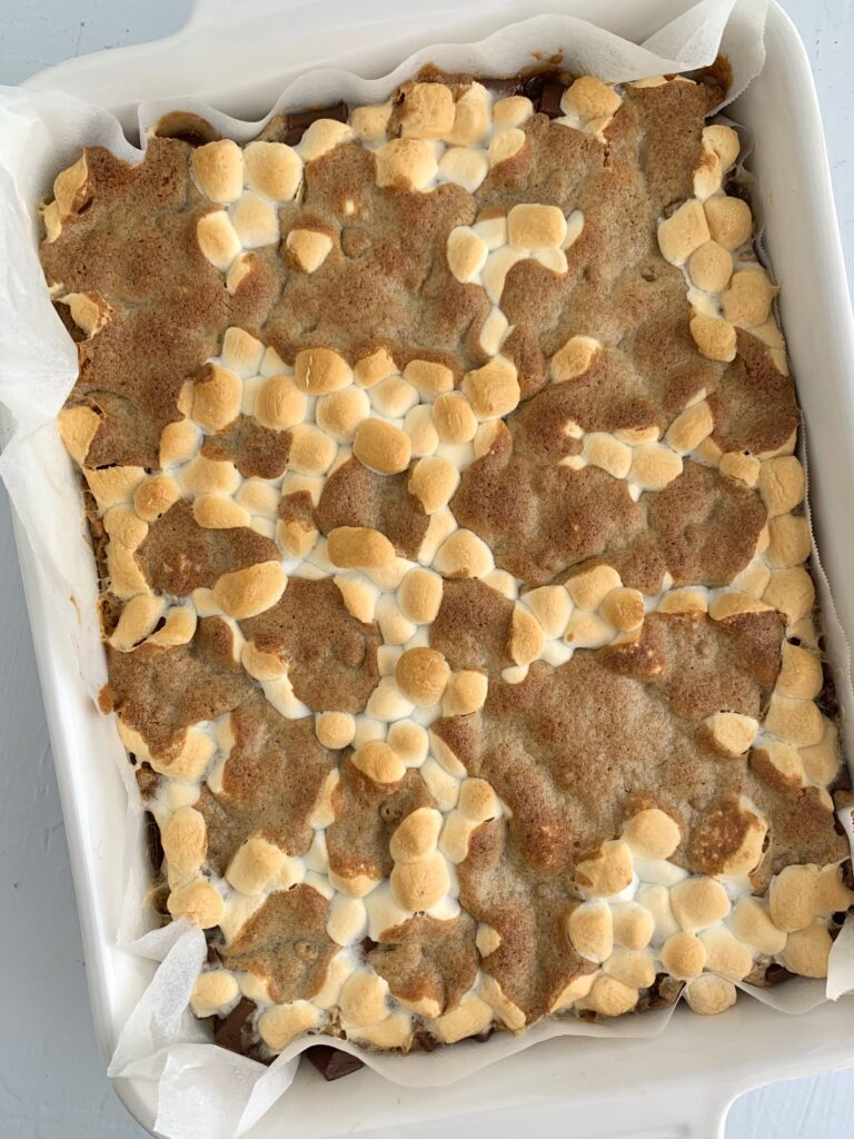 A pan of baked s'more cookie bars