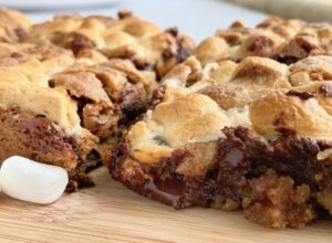 s'more cookie bars with melted chocolate