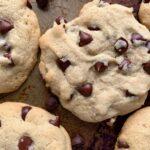 Warm chocolate chip cookies