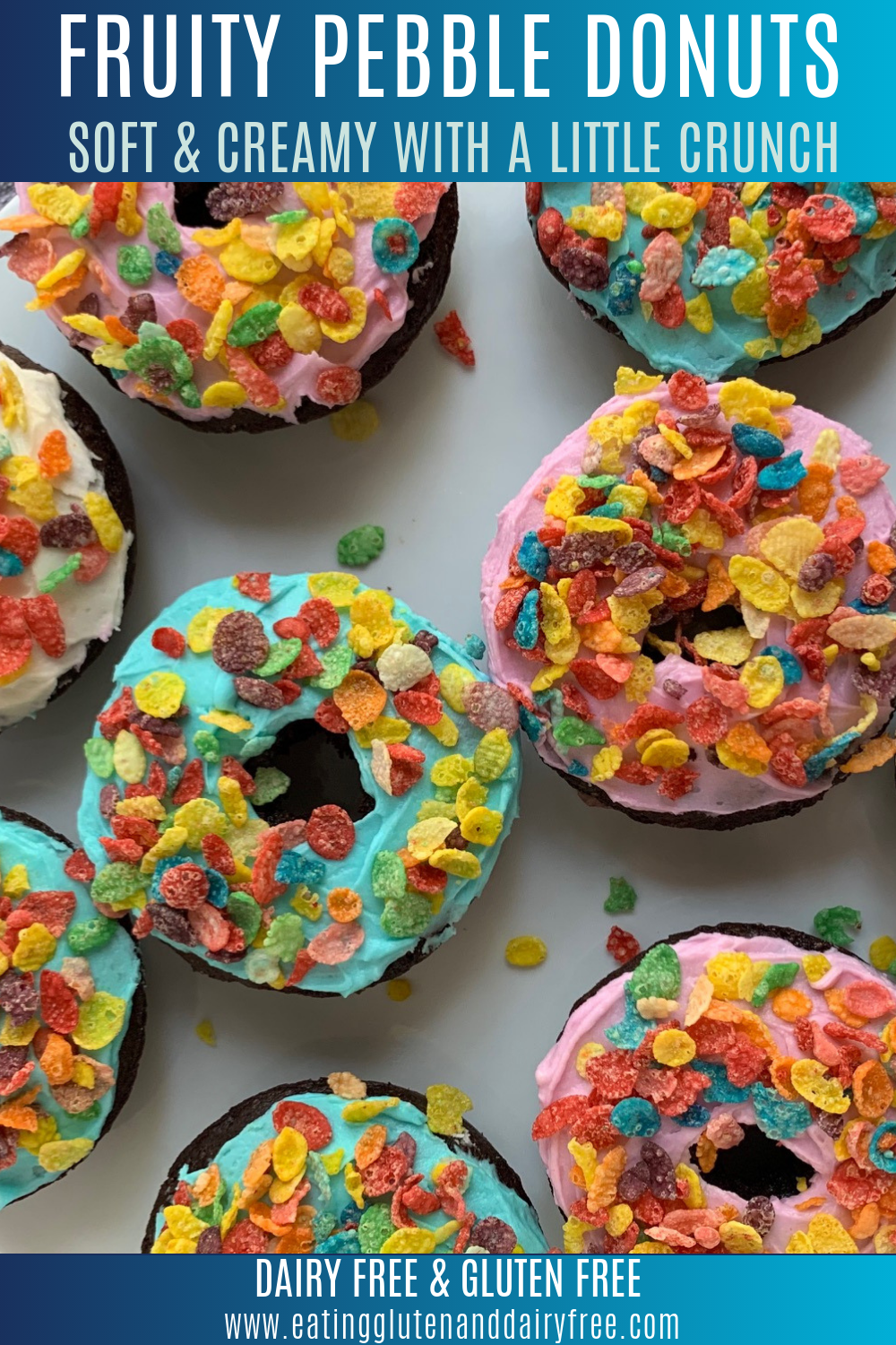 Chocolate donuts with frosting and fruity pebble cereal on top