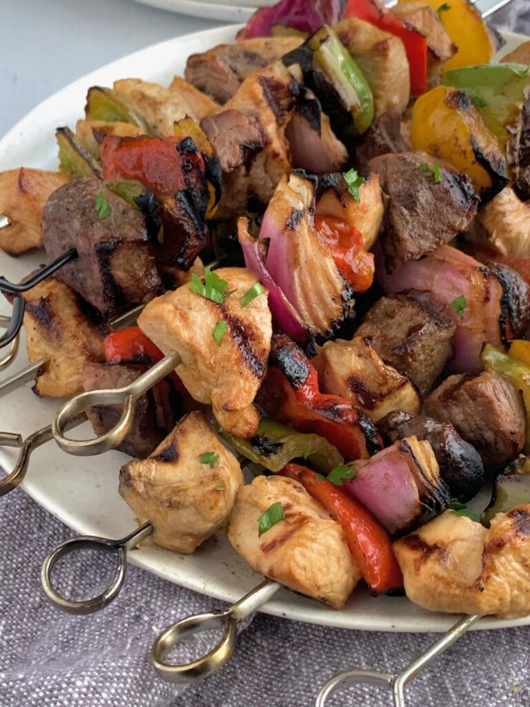 Beef, steak, and veggies on skewers