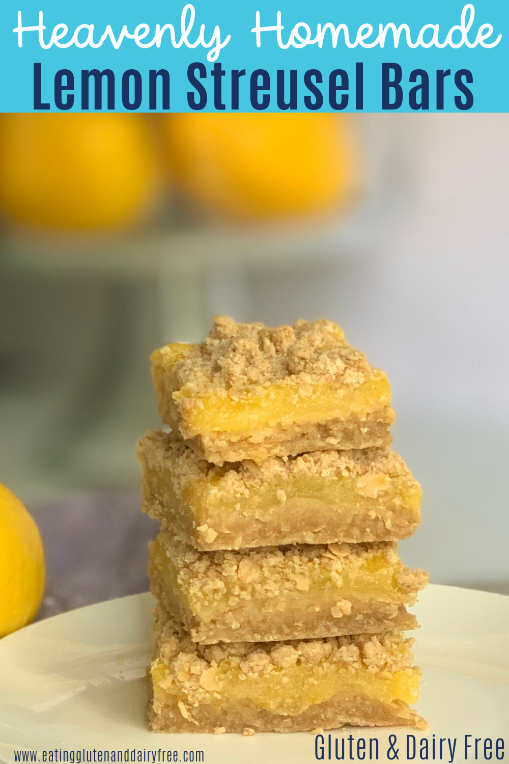 A stack of creamy and tangy lemon filling between a streusel crust and topping.