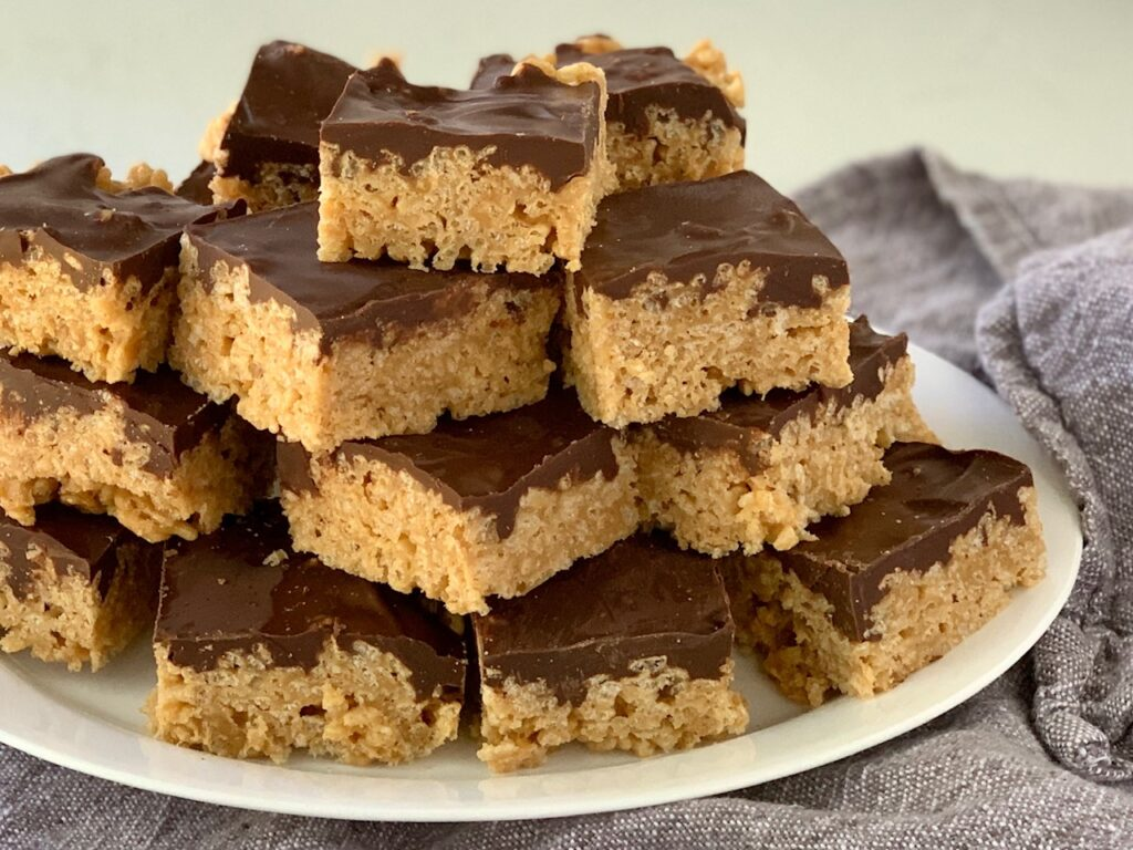 A large platter of Oh Henry Bars.
