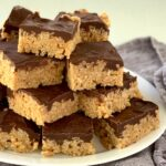 a large platter of oh henry bars cut and stacked