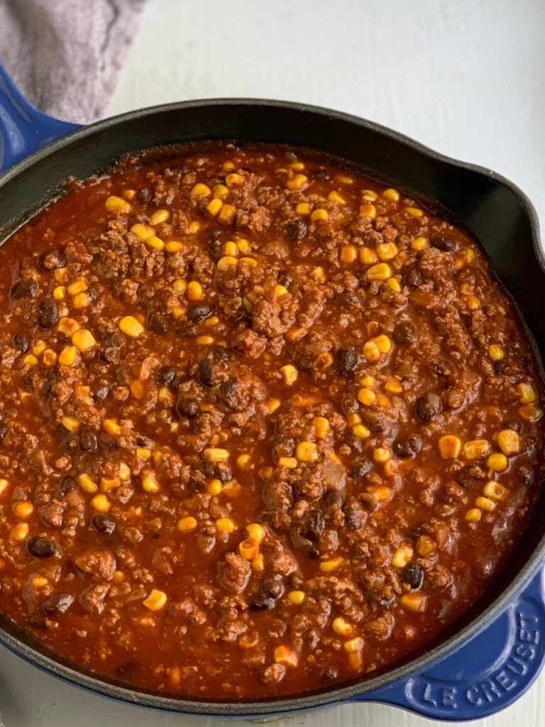 A saucy mixture of ground beef, corn, black beans, and sauces.
