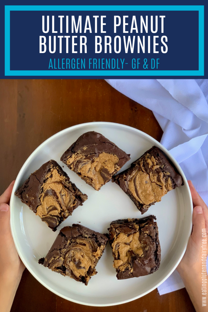 A peanut butter mixture swirled into brownie batter, baked, and cut into squares on a plate.