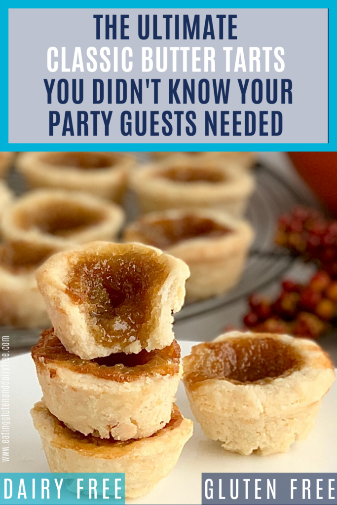 3 stacked butter tarts on a plate.