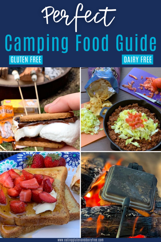 4 different food camping ideas such as french toast, a mountain pie maker in the fire, smores, and an easy taco dish.