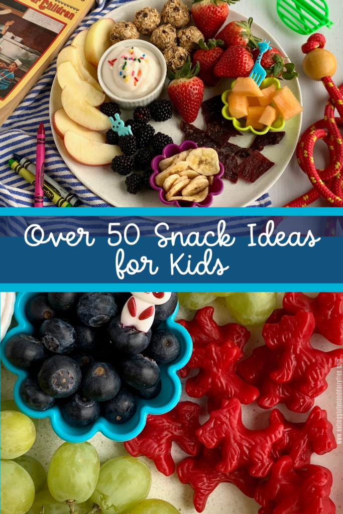 A variety of kid approved snacks including fruit, veggies, licorice, jerky, and energy balls.