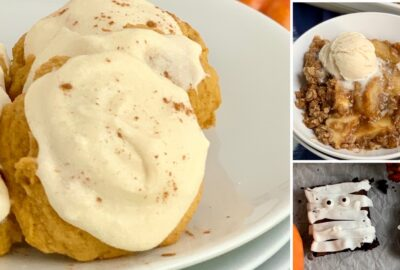 3 different desserts. 1 is pumpkin cookies with cream cheese frosting, another is apple crisp in a bowl with ice cream on top, and lastly is 2 rectangle brownie pieces with white frosting zig zagging across them and googly eyes to look like mummies.