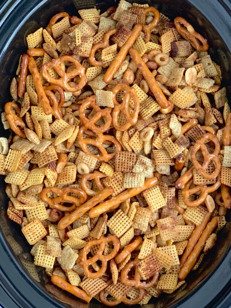 Yummy chex mix in a crockpot.