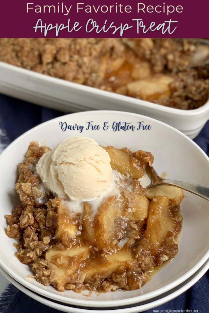 A bowl of warm, classic apple crisp topped with a dollop of dairy free ice cream.