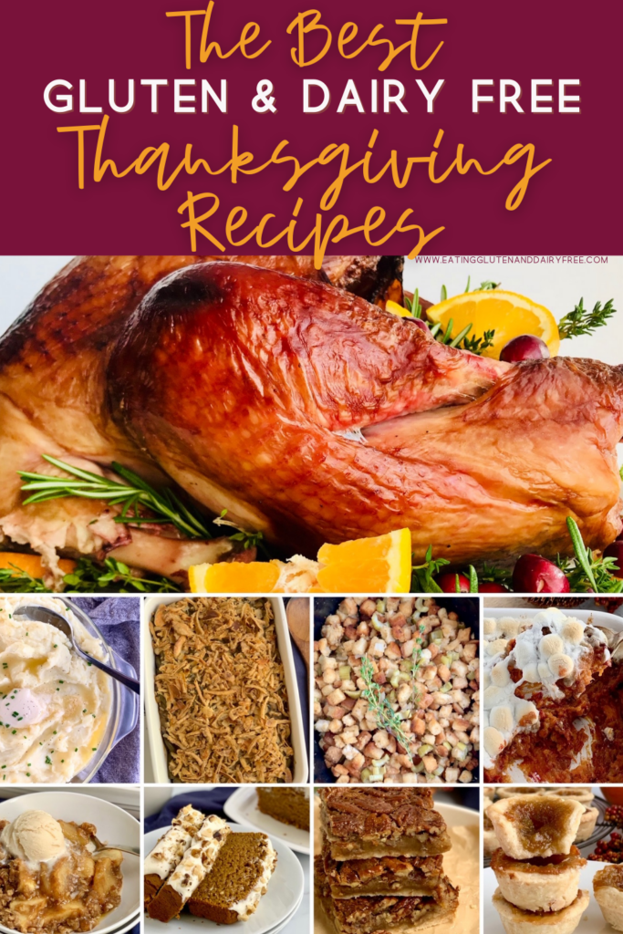 A food photo collage of different classic Thanksgiving dishes.