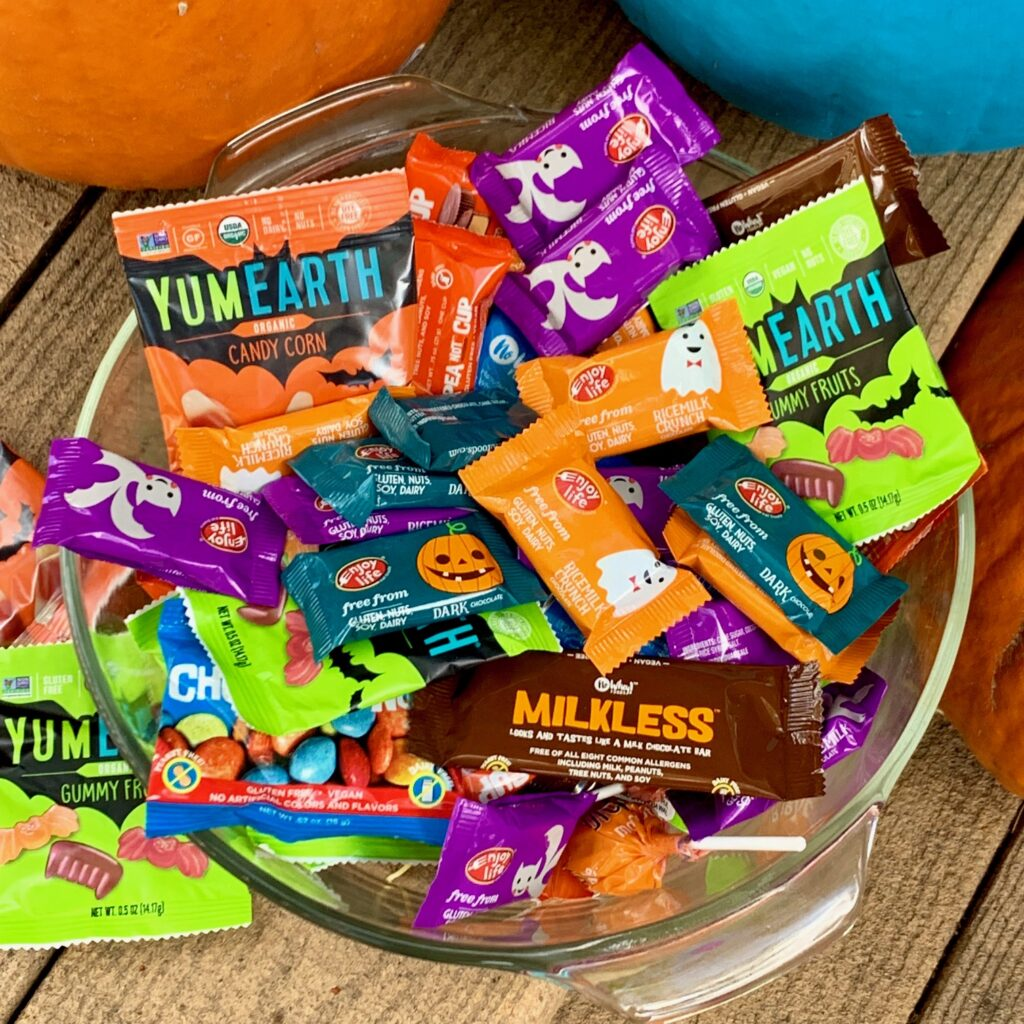 a bowl stashed with prepackaged Halloween candy