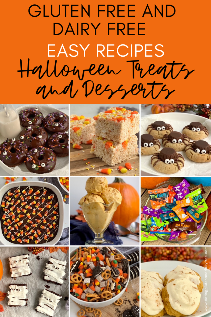 9 different dessert ideas such as candy corn brownies, pumpkin ice cream, spider cookies, and candy corn rice krispies.
