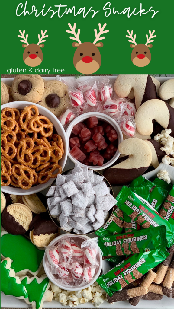 a variety of treats on a Christmas dessert board